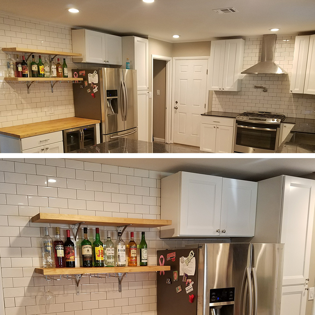 The Kitchen Was Updated With Shaker Style Cabinets And A Granite Island.  Thereu0027s A Custom Farmhouse Stainless Steel Sink, New Tile And Hardwoods.