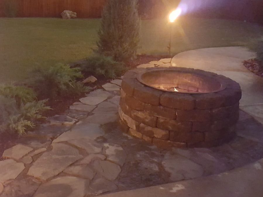 Fire Pit, Lighting & Landscaping