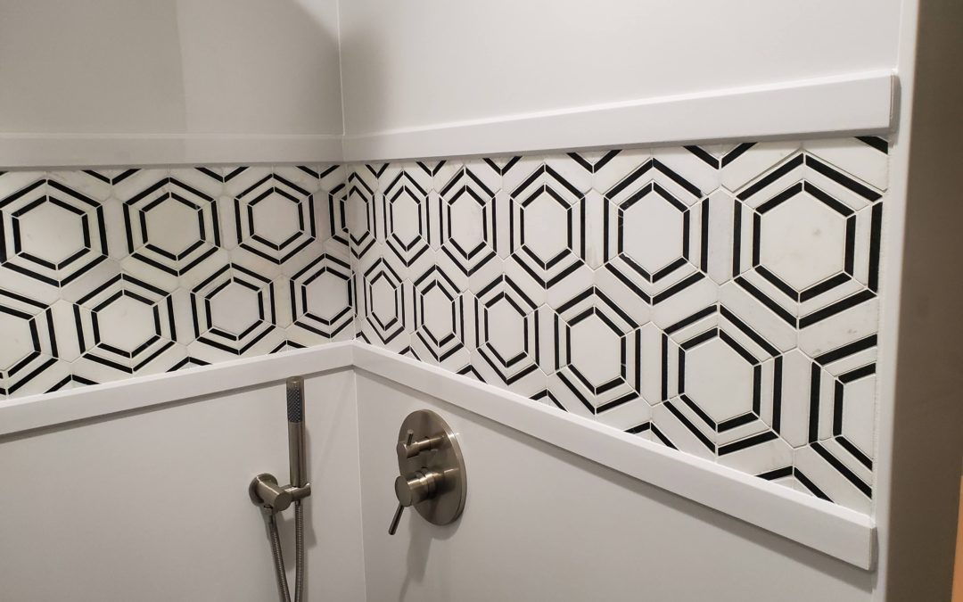 Geometric Black and White Shower in Owasso, OK
