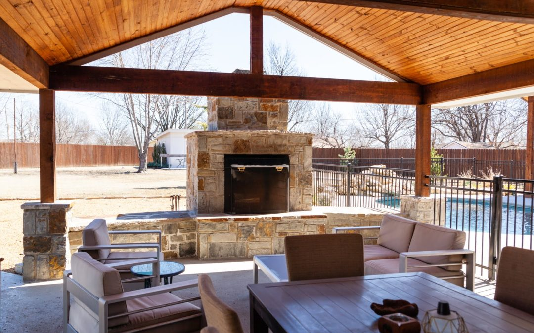 Outdoor Pavilion, Fireplace and Pool House